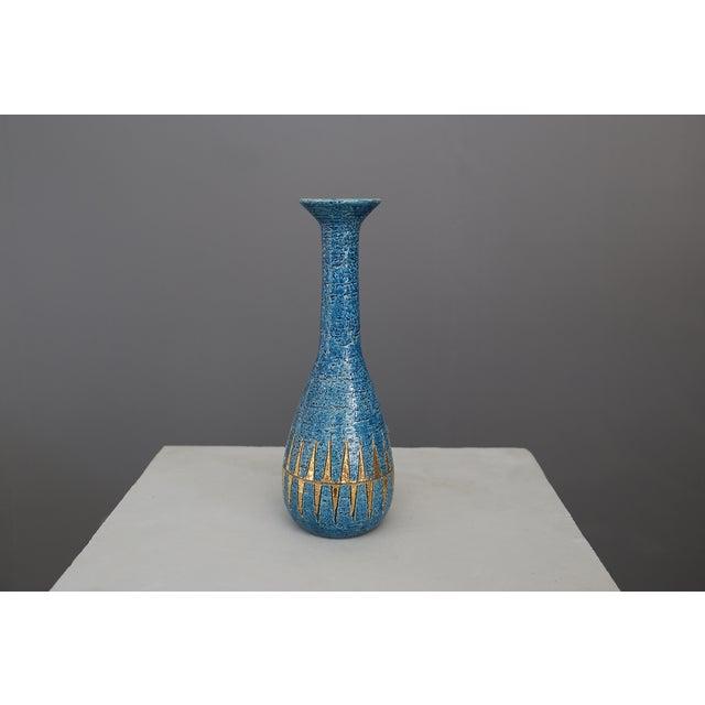 Metal Vintage Blue & Golden Ceramic Bottle by Aldo Londi for Bitossi, 1960 For Sale - Image 7 of 7