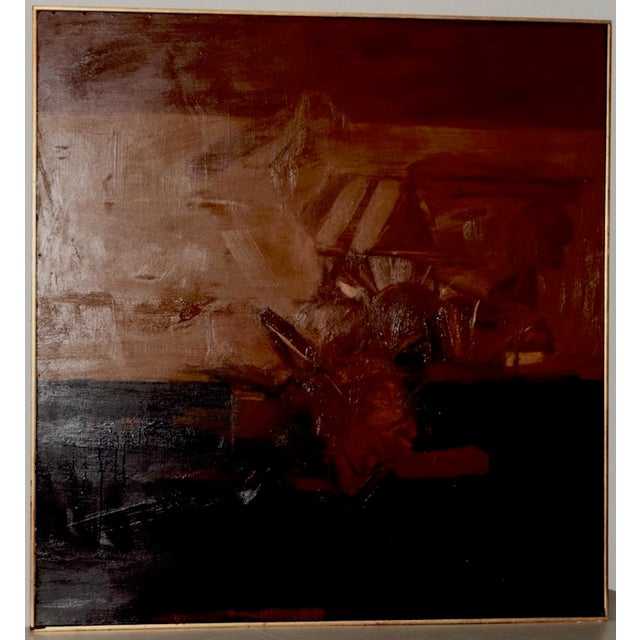 Orange Vintage Mid Modern Abstract Oil Painting C.1970 For Sale - Image 8 of 8