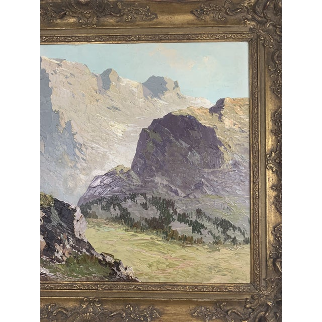 Black Large Mountain Scene Oil Painting in Gilt Frame For Sale - Image 8 of 13