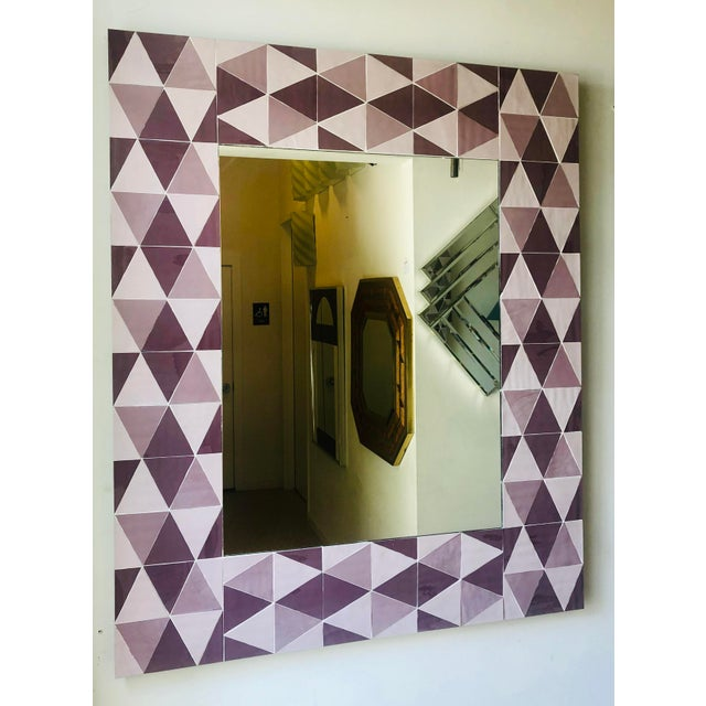 Lavender and Mauve Rectangular Geometric Opaline Glass Mirror For Sale In West Palm - Image 6 of 8