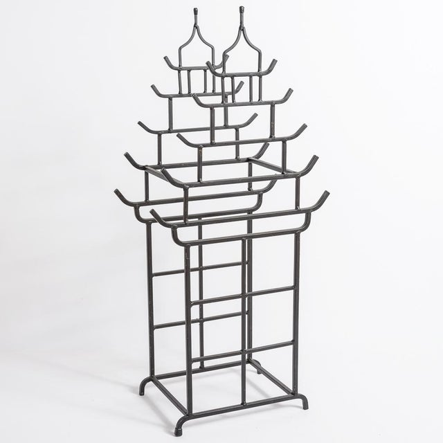 Great looking Chinoiserie Pagoda shape metal umbrella stand, powder coated in a mate black color. Very good to excellent...