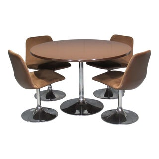 1960s Mid-Century Modern Borje Johanson Chrome Dining Set - 5 Pieces For Sale