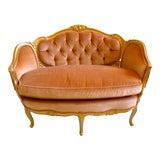 Image of Gold Gilded Framed Peach Velvet Settee For Sale