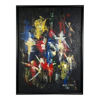 Vintage Modern Signed Abstract Original Painting, 1982 For Sale