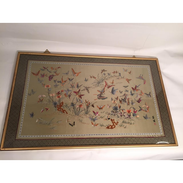 Antique Chinese Butterfly Garden Framed Embroidery - Image 3 of 11