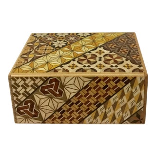Japanese Inlaid Wood Secret Puzzle Box For Sale