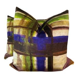 "Stylized Plaid Velvet 22"" Pillows-A Pair For Sale"