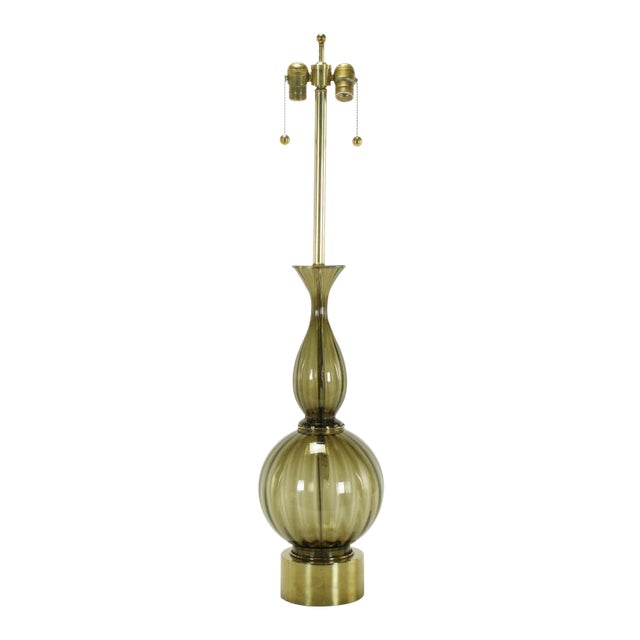Fluted & Smoked Glass Sinuous Table Lamp - Image 1 of 7
