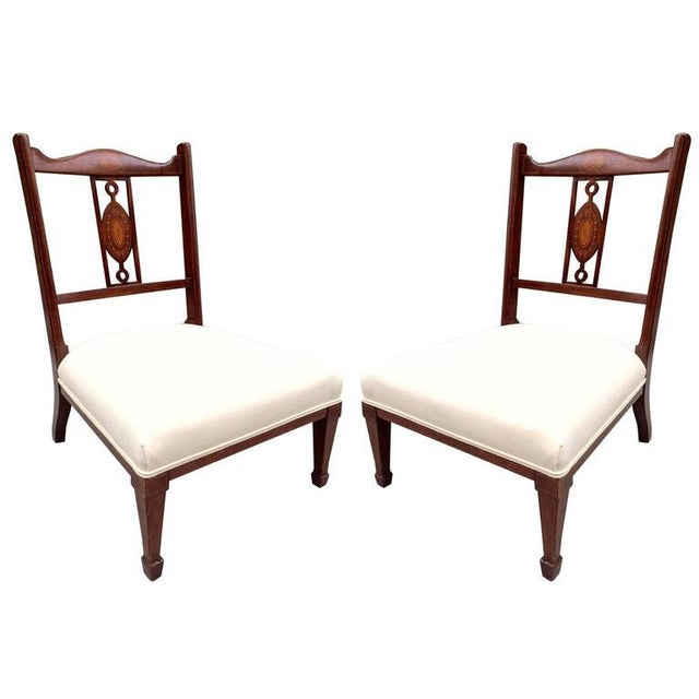 Late 19th Century Pair of 19th Century Regency Style Mahogany Inlaid Slipper Chairs For Sale - Image 5 of 5