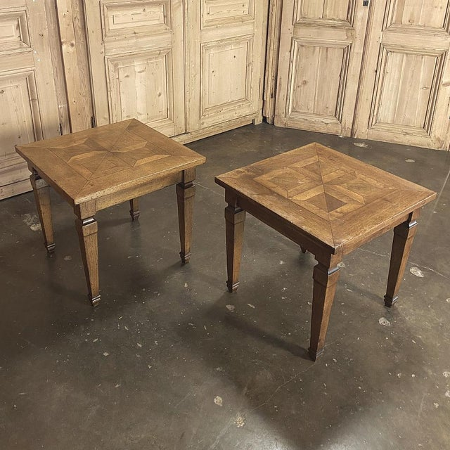 Traditional Pair Walnut Parquet End Tables For Sale - Image 3 of 4