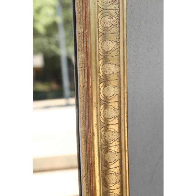 Art Nouveau 19th Century French Louis Philippe Carved Gilt Mirror With Original Glass For Sale - Image 3 of 12