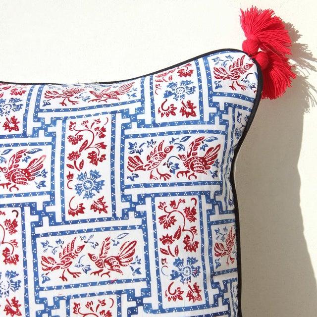 "Indigo & Red Chinoiserie Pillowcase ""Love Birds"" - Image 4 of 8"