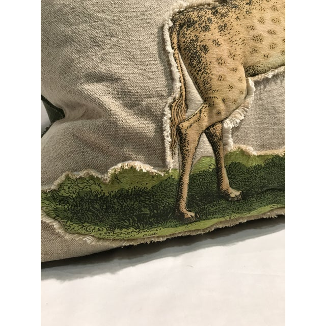 Safari Giraffe Linen & Cotton Applique Quilted Zoo Animal Design Legacy Kelly O'Neal Decorative Pillow Childrens Room For Sale - Image 4 of 8