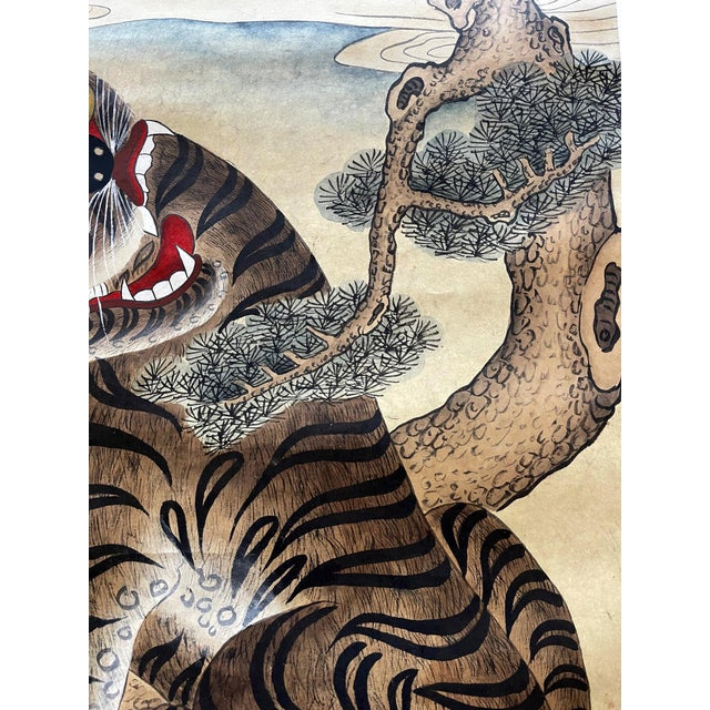 Folk Art Korean Jakhodo Minhwa Folk Scroll Painting For Sale - Image 3 of 11