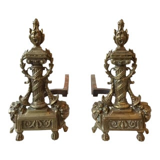 1920s Antique Brass Ornate Andirons For Sale