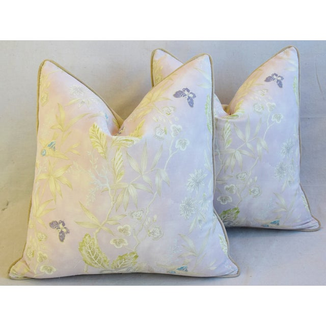 """White Pale Lavender Wildflower & Butterfly Linen Feather/Down Pillows 23"""" Square - Pair For Sale - Image 8 of 13"""