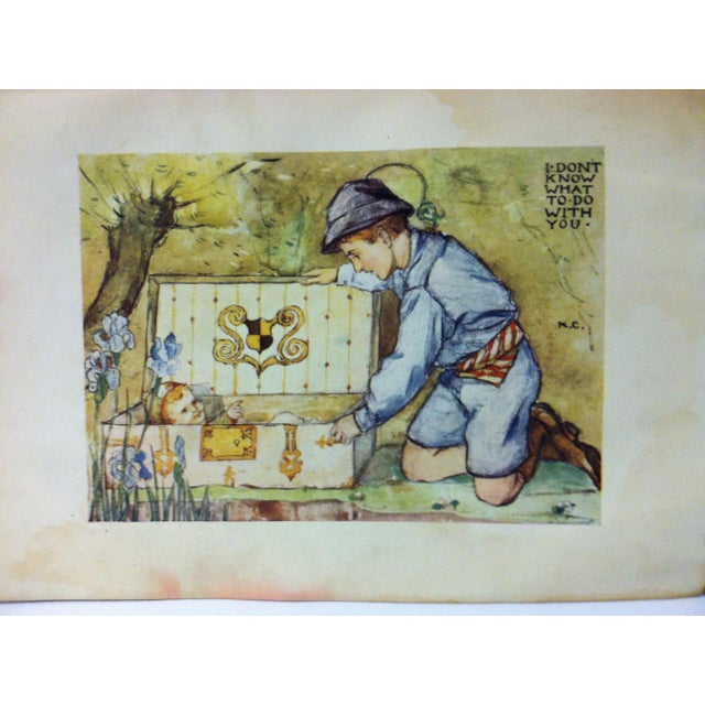 "This is an antique The Enchanted Land print that is titled ""I Don't Know What To Do With You"". The print was published by..."