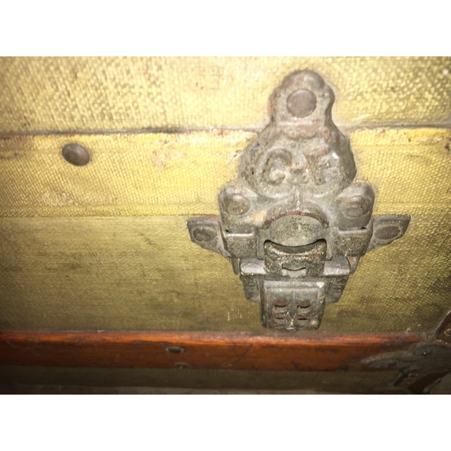 Crouch & Fitzgerald Antique Flat Top Trunk For Sale - Image 10 of 11