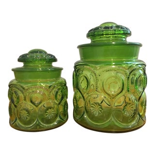 "l.e. Smith Mid-Century ""Moon and Stars"" Green Glass Canisters - a Pair For Sale"
