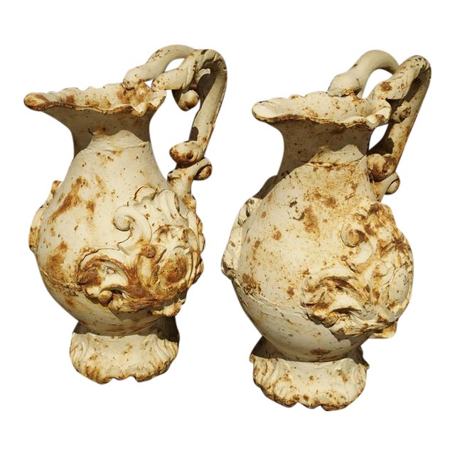 Pair of French Antique Cast Iron Pitchers For Sale