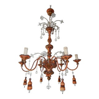 Italian Carved Genovese Wood Tassels Crystal Chandelier, Circa 1900 For Sale