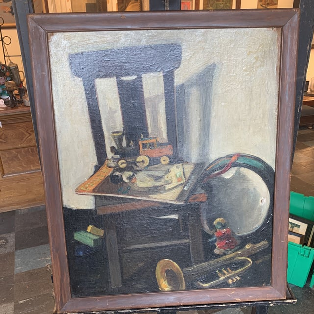 Mid-Century Still Life With Toys Painting, Framed For Sale In Seattle - Image 6 of 6