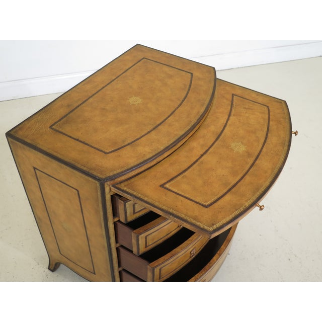 1990s Art Deco Maitland Smith Bow Front Leather Bachelor Chest For Sale In Philadelphia - Image 6 of 13