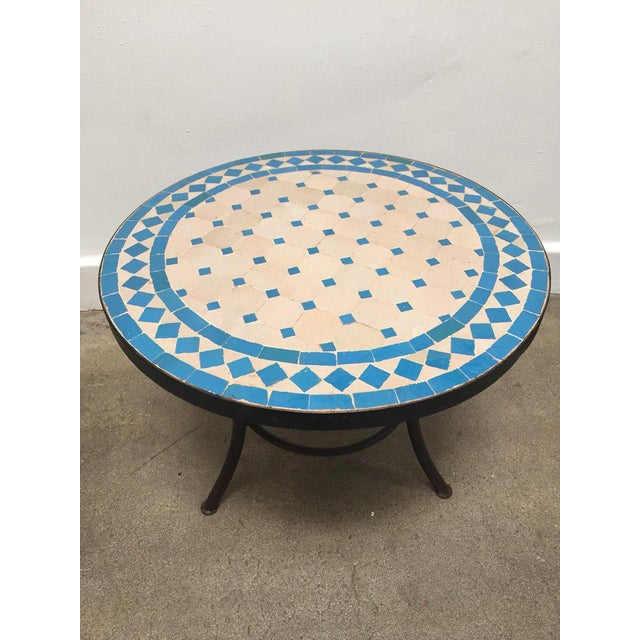 Moroccan Mosaic Outdoor Turquoise Tile Side Table on Low Iron Base For Sale - Image 9 of 9
