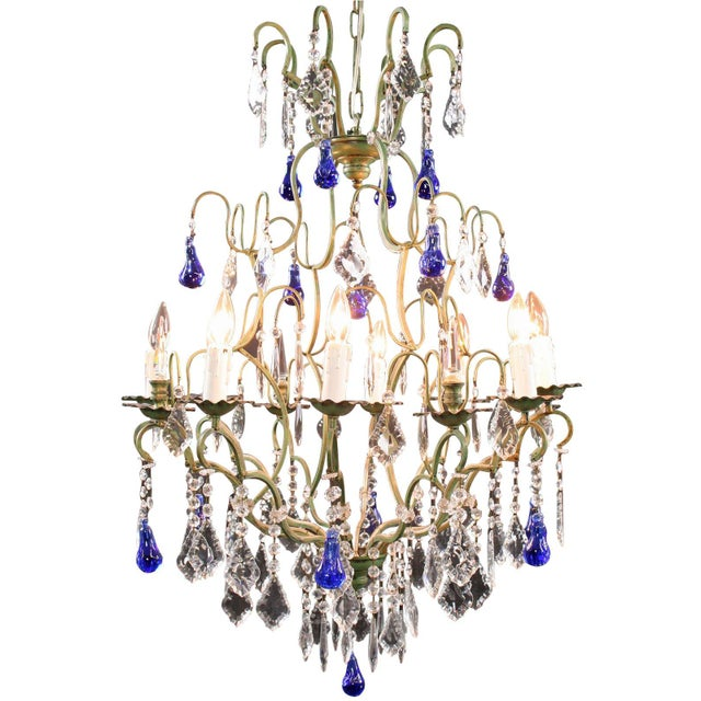 Large Maria Theresa Style 12-Arm Chandelier Blue - Image 1 of 8