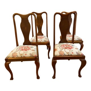 19th Century Rustic French Country Style Walnut Dining Chairs - Set of 4 For Sale