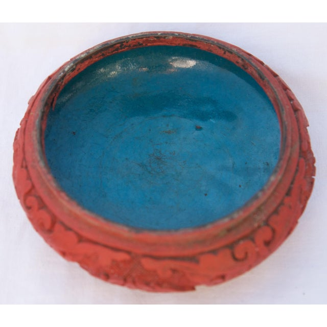 Add to your cinnabar collection with this lovely bowl! This bowl has a beautiful floral and vine motif on the outside. The...