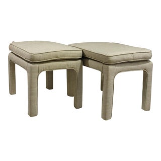 Upholstered Parson Style Stools - A Pair For Sale