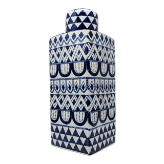Asian Modern Square Blue and White Ceramic Jar With Lid