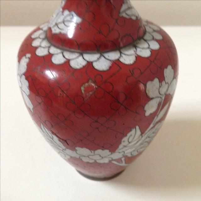 Red Cloisonne Vases - Pair - Image 9 of 11