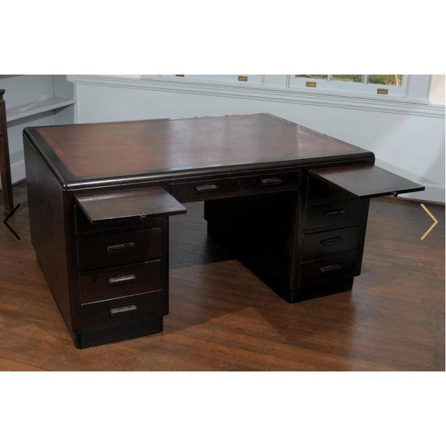 1930s English Art Deco Period Pedestal Desk For Sale - Image 5 of 7
