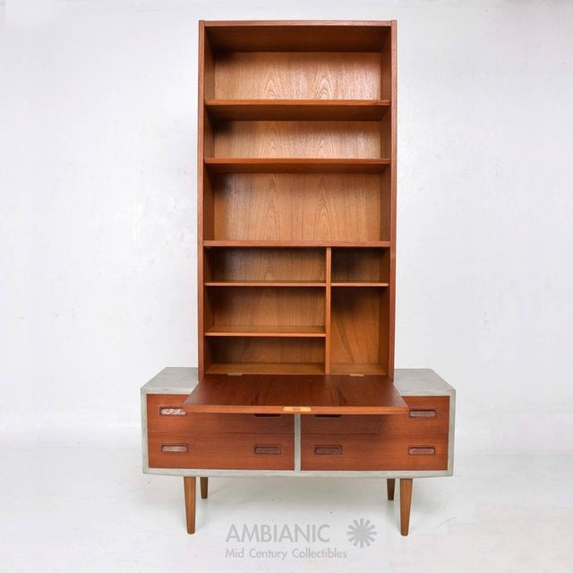 Mid-Century Modern Danish Modern Cabinet with Hutch Teak For Sale - Image 3 of 8