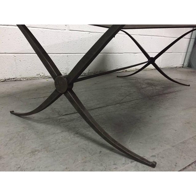1960s Travertine Top and Wrought Iron Coffee Table For Sale - Image 5 of 7