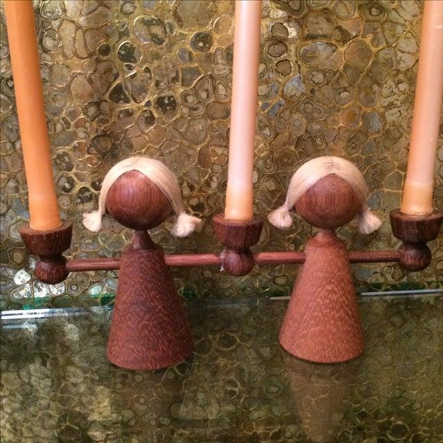 Danish Modern Teak Girl Candle Holders - S/3 - Image 3 of 6
