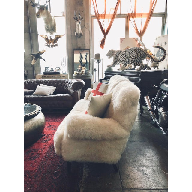 2010s White Mongolian Wool Sofa For Sale - Image 5 of 13