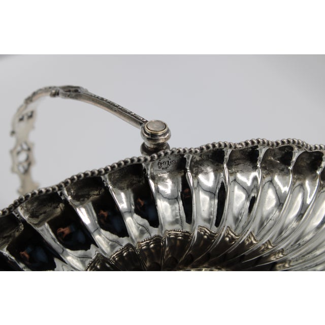 Metal 19th Century Silver Plated Bride's Basket For Sale - Image 7 of 12
