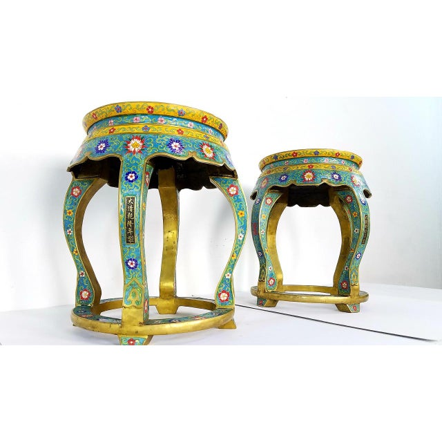 2000 - 2009 Chinese Cloisonne Bronze Stools - a Pair For Sale - Image 5 of 13