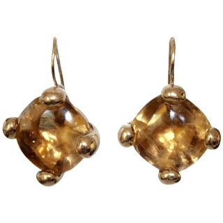 Goossens Paris Citrine and Pale Gold Pierced French Wire Earrings For Sale