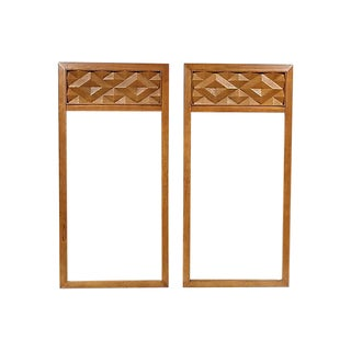 1960s Diamond-Style Wall Mirrors - a Pair