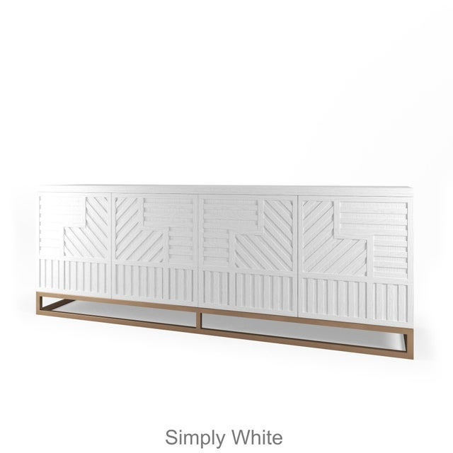 Not Yet Made - Made To Order Stria Credenza - Brushed Brass Base, White Open Pore For Sale - Image 5 of 5