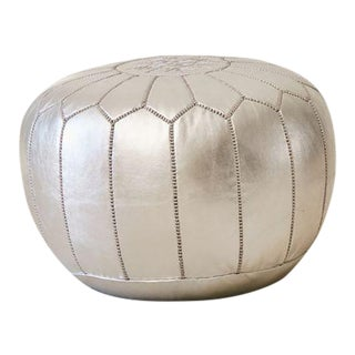 Silver Leather Floor Pouf For Sale