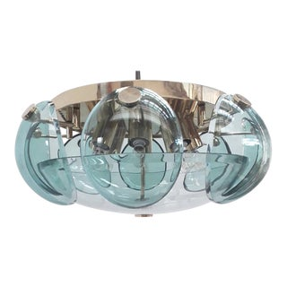 Mid 20th Century Beveled Glass Flush Mount by Cristal Art For Sale