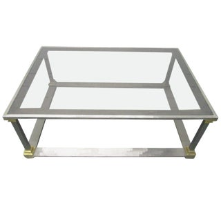Brushed Steel and Brass Coffee Table For Sale