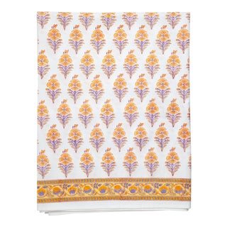 Juhi Flower Fitted Sheet, Queen - Yellow For Sale