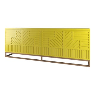 Stria Credenza - Brushed Brass Base, Citron For Sale