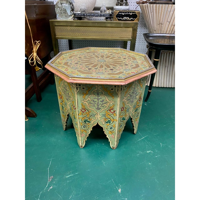 1970s Moorish Octagonal Hand Painted Accent Table For Sale - Image 9 of 9